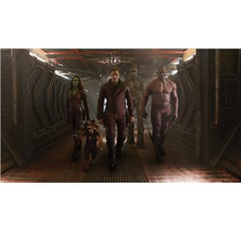 Gamora, Rocket Racoon, Star Lord, Groot og Drax